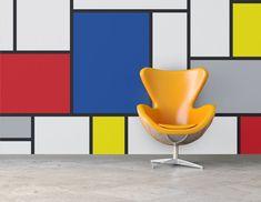 Parfois un simple papier peint se suffit à lui-même, pour donner du caractère à une pièce, comme celui proposé par Pixers, qui reprend le graphisme de Mondrian. Lignes et couleurs apportent de la personnalité à une pièce un peu trop classique.