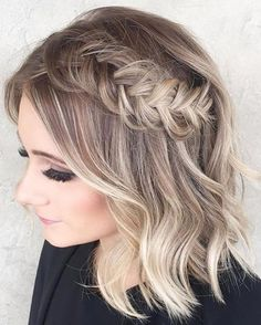 Blonde sombre photo by ombre short hair bob . Prom Hairstyles For Short Hair, Braided Hairstyles For Wedding, Cool Hairstyles, Wedding Hairdos, Wedding Curls, Teenage Hairstyles, Hairstyles Videos, Choppy Hairstyles, Gorgeous Hairstyles