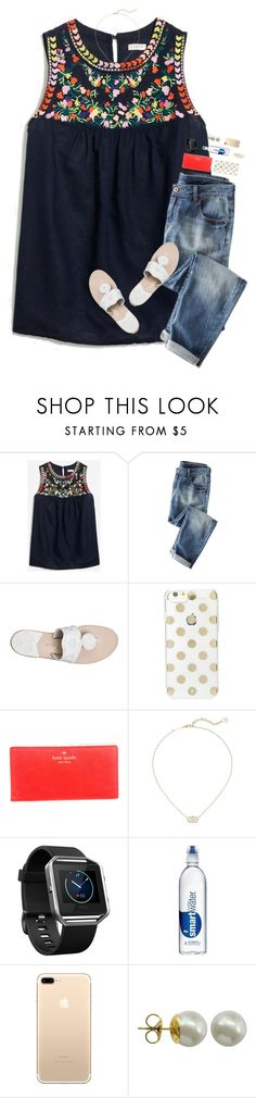 """summer days drifting away"" by harknessl ❤ liked on Polyvore featuring J.Crew, Jack Rogers, Kate Spade, Kendra Scott, Fitbit, Majorica and preppybylauren"