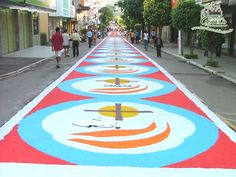 Castelo, ES, Brasil. Corpus Christi. The city is famous for the  hand made carpets. They are made of stone, sand, flowers etc. The whole city has them during the Corpus Christi  celebrations.