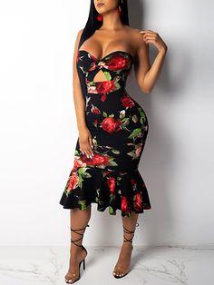 Vestido de cola de pescado recortado sin tirantes con estampado floral  Tipos De Vestidos 25f160576492