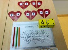 Kymppiparipeli  Heitä numero- tai pistenoppaa ja etsi luvulle kymppipari monisteesta. Väritä sydän itsellesi. Pelin voittaa eniten sydämiä  värittänyt. Pelipohja on matikkakurssilta.
