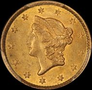 1851 $1 Gold Liberty Type 1 CAC & PCGS MS62 from thehappycoin.com