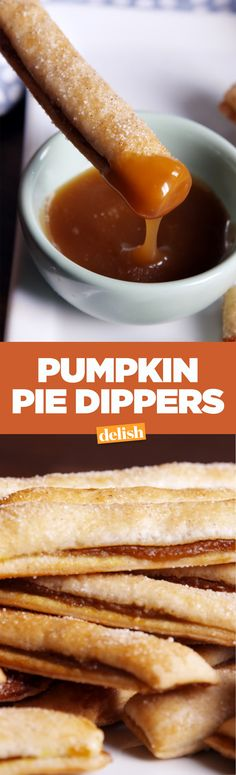 These pumpkin pie dippers are the Thanksgiving dessert your no one will expect. Get the recipe on Delish.com.
