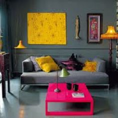 Warm gray and gold and fuschia room