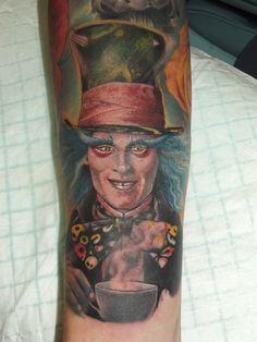 Johnny Depp The Mad Hatter Tattooist: Daniel Brandt Electric Expressions Tattoo Studio Margate, QLD, Australia PH: (07) 38895966