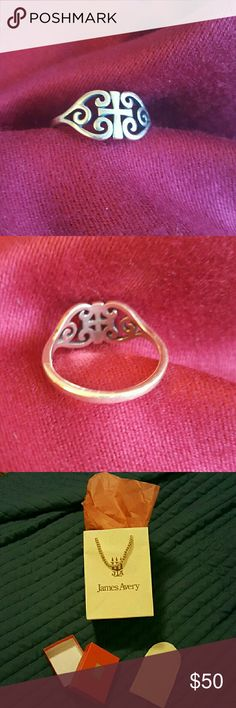 James Avery Scroll Cross ring [Note: This item is NOT included in my Spring Cleaning Sale.]  Good condition/light wear.  My daughter got a different ring and just doesn't wear this one anymore.  Ring will ship with a gift bag, box and felt bag.  Went by JA to double-check ring size and it fell between the 7 and 7.5 lines on their ring post....so, size 7.25. :) James Avery Jewelry Rings