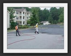 The parking lots of eating establishments typically include an area for dumpsters where food disposal and the cleaning of food processing equipment takes place.  Typically, these areas are pressure washed often and sealcoating protects the asphalt pavement from the high water pressure and strong detergents used. #ABCPavingandSealcoating#Asphalt#Pavement#Sealcoating