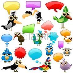 Cartoon Vogel mit Blasen  photo