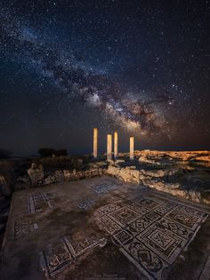 Milky Way above ancient Roman archeological ruins, Sardinia
