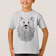 Bearded Bear T-Shirt for Kids, Childrens Tshirt