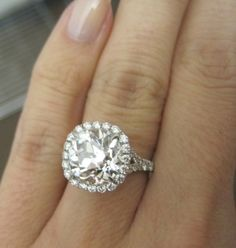 3.92 Carat OEC Cut w/ Pave band and halo