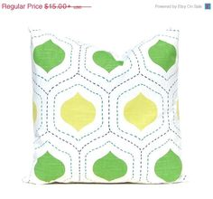 SALE Green Euro Sham Lime Green Ogee Pillow by FestiveHomeDecor