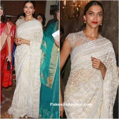 Deepika Padukone in White Netted Lace Saree by Abu Jani Sandeep Khosla-PakeezaAnchal.com