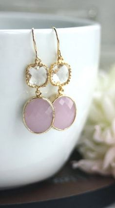 Pink Opal Oval Framed Glass Drop with Clear Glass Connectors French Dangle Earrings. Wedding Bridal from Marolsha. Jewelry Box, Jewelry Accessories, Fashion Accessories, Jewelry Design, Women Jewelry, Dangle Earrings, Pink Earrings, Bridal Earrings, Pink Opal