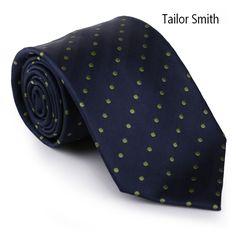 Tailor Smith Hand Made 100% Silk Woven Jacquard Polka Dot Ocean Blue Tie Classical Formal Business Neckwear Wedding Dress