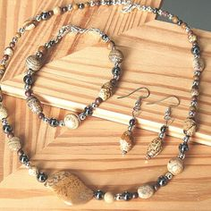 Southwestern Style Picture Jasper Gemstone Silver Necklace 3 piece Set