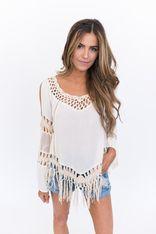 Cream Crochet Open Shoulder Top