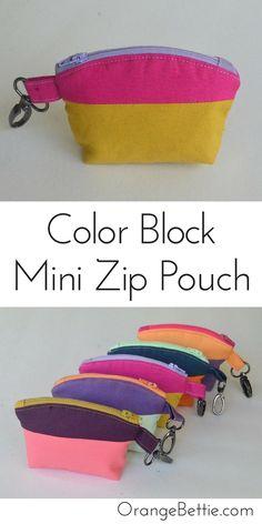 Color Block Mini Zip Pouch - Tutorial