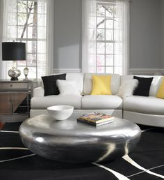 Ambiente Furniture - Phillips Riverstone Coffee | Side Table - Large Grey And Yellow Living Room, Silver Living Room, Grey Yellow, Yellow Accents, Silver Coffee Table, Stone Coffee Table, Silver Table, Coffee Tables, Living Room Interior
