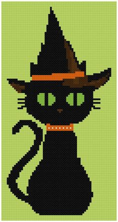 Black Cat with Hat Cross Stitch PDF Pattern by SmallLittleStitches, $3.00