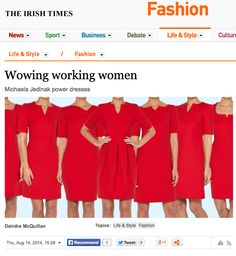 Michaela Jedinak's power dresses were featured in the IRISH TIMES.