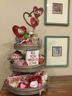 When it comes to Valentine's Day decor, think outside your average box of chocolates! Our Valentine's Day selection has bold reds and heartfelt styles that capture the style of the season. From pillows to banners, find the perfect Valentine's Day . Valentine Day Love, Valentines Day Party, Valentine Day Crafts, Holiday Crafts, Valentine Ideas, Valentine Special, Diy Valentine's Centerpieces, Galvanized Tray Centerpieces, Galvanized Tiered Tray