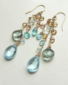 St Lucia Earrings with Swiss Blue Topaz Mystic