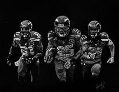 """8.5"""" x 11"""" scratchboard of the Legion Of Boom. Seattle Seahawks."""