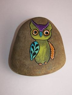 Whimsical Garden Rock Owl Hand Painted Rock Owl by ilovemy1984