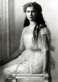 Grand Duchess Maria Nikolaevna of Russia (Maria Nikolaevna Romanova) (June 1899 – July 1918) was the 3rd daughter of the last autocratic ruler of the Russian Empire, Emperor Nicholas II, and of Empress Alexandra of Russia. Contrary to popular belief, it was Maria's body that was missing among the rest of her family after they were murdered in 1918, not that of Anastasia.