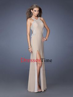 Sheath High Slit Open Back Prom Dress PD2660
