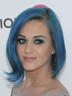 Katy Perry with cute blue hair.