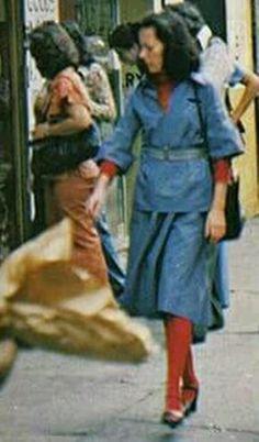 Mid-1970s Manhattan sidewalk scene, N.Y. City, N.Y.
