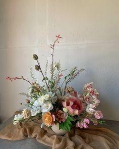 Arrangement with Vessel — OFFERINGS Backyard Picnic, Blush Wedding Flowers, Flower Shower, Flower Aesthetic, Spring Aesthetic, Aesthetic Collage, Centerpiece Decorations, Christmas Centerpieces, Event Decor