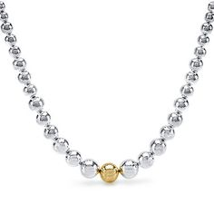 BIRKS LUNA™ Collection, Graduated Hammered Bead Necklace, in Sterling Silver and 18kt Yellow Gold
