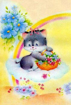 #anos80 #papel de carta Kitten on a Cloud