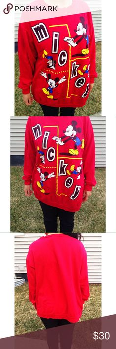Vintage Mickey Unlimited crew neck Vintage Mickey Unlimited Crew neck sweater. Thin sweater material, in a bright red colorway. Awesome Mickey Mouse graphic all over the front. Men's size Medium. Model is a woman's size medium and it fits her like a large. Great condition for a vintage piece Disney Tops Sweatshirts & Hoodies