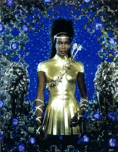 Naomi Campbell as Diana for Pierre et Gilles
