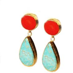 Turquoise and Coral Earrings for Spring.