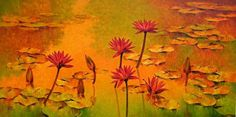 """""""Water lilies"""" a great Artwork by Artist Swati Kale  http://www.colourentice.com/products/water-lilies-15  Medium: Oil on Canvas & Size: 30"""" X 60"""" #Art #Paintings #Artwork"""