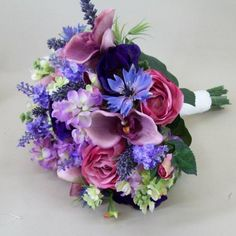 60. many blues - it is style that is chosen. also can ask to wrap with satin the stems. but it must be chosen asap. Artificial Flowers Wedding Bouquet Pink Purple - ABB004