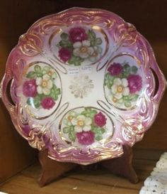 Beautiful Floral Porcelain Plate for Your Romantic or Shabby Decor! Fine Porcelain, Four Square, Decorative Plates, Shabby, Romantic, Crystals, Tableware, Floral, Beautiful