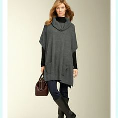 Talbots Cashmere Sweater Poncho Talbots Pure Cashmere Sweater Poncho in Gray. Ultra soft and figure flattering. 2 front pockets. Single button closure on the sides. Perfect for this winter weather and looks great paired with leggings.  Size: Small but can fit M/L depending on how you'd like to style it. NWT Open to Reasonable Offers here on Posh. Talbots Sweaters