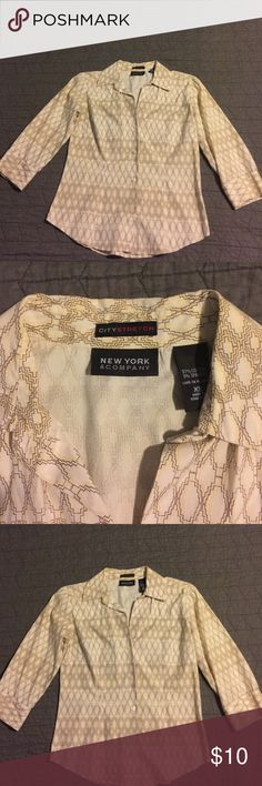 New York button shirt New York button shirt yellow. With neat patterns size xs. New York & Company Tops Button Down Shirts