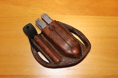 Leather Gerber MXS multi-plier and fero rod pancake sheath by T. Wood