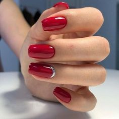 A manicure is a cosmetic elegance therapy for the finger nails and hands. A manicure could deal with just the hands, just the nails, or Red Gel Nails, Red Acrylic Nails, Red Nail Art, Nail Manicure, My Nails, Nail Polish, Red Nails With Glitter, Red Sparkle Nails, Red And Silver Nails