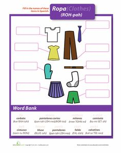 Clothes, Clothes In Spanish, Spanish Worksheets, Clothing In Spanish ...