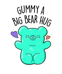 'Gummy A Bear Hug Candy Food Pun' Sticker by punnybone Cute Puns, Cute Memes, Cute Quotes, Funny Cute, Funny Food Puns, Food Humor, Candy Puns, Bear Puns, Cute Food Drawings