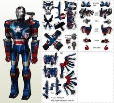 Iron Man - War Machine MK2 Paper Model - Patriot Version - by Raphael Gatt